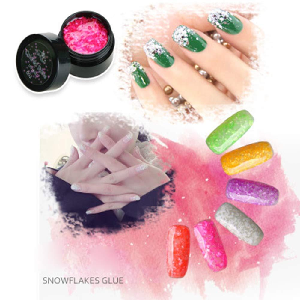 Soldmore7 - Esmalte de uñas de gel con purpurina y gel UV para decoración de uñas, diseño de copo de nieve, 8 ml: Amazon.es: Belleza