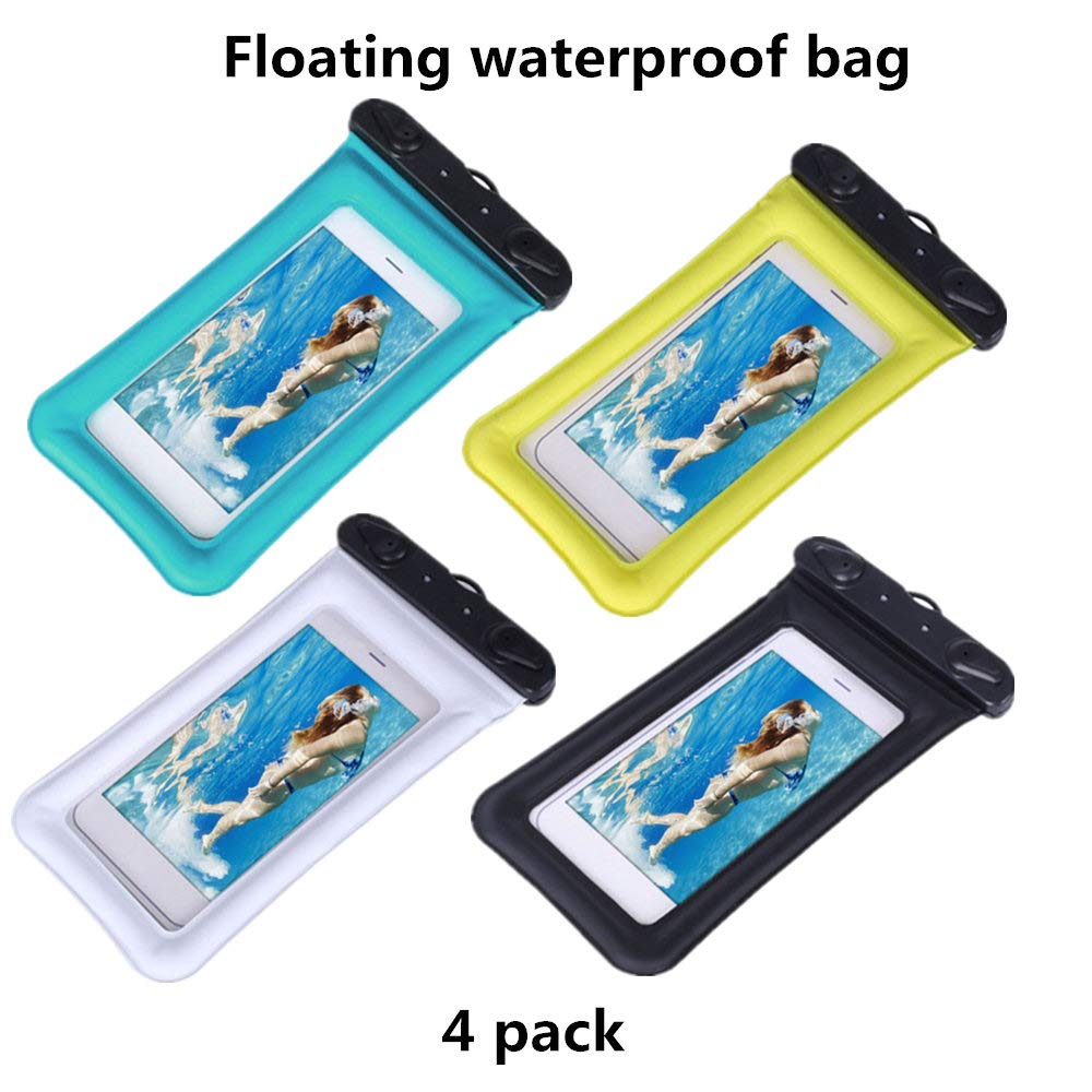 4 Packs Float Waterproof Phone Pouch, Underwater Waterproof Cellphone Case Dry Bag with Lanyard Armband Compatible with iPhone Xs/Xr/Xs Max, 8/7/6s Plus, Samsung Galaxy S10 (Black+Blue+White+Yellow)