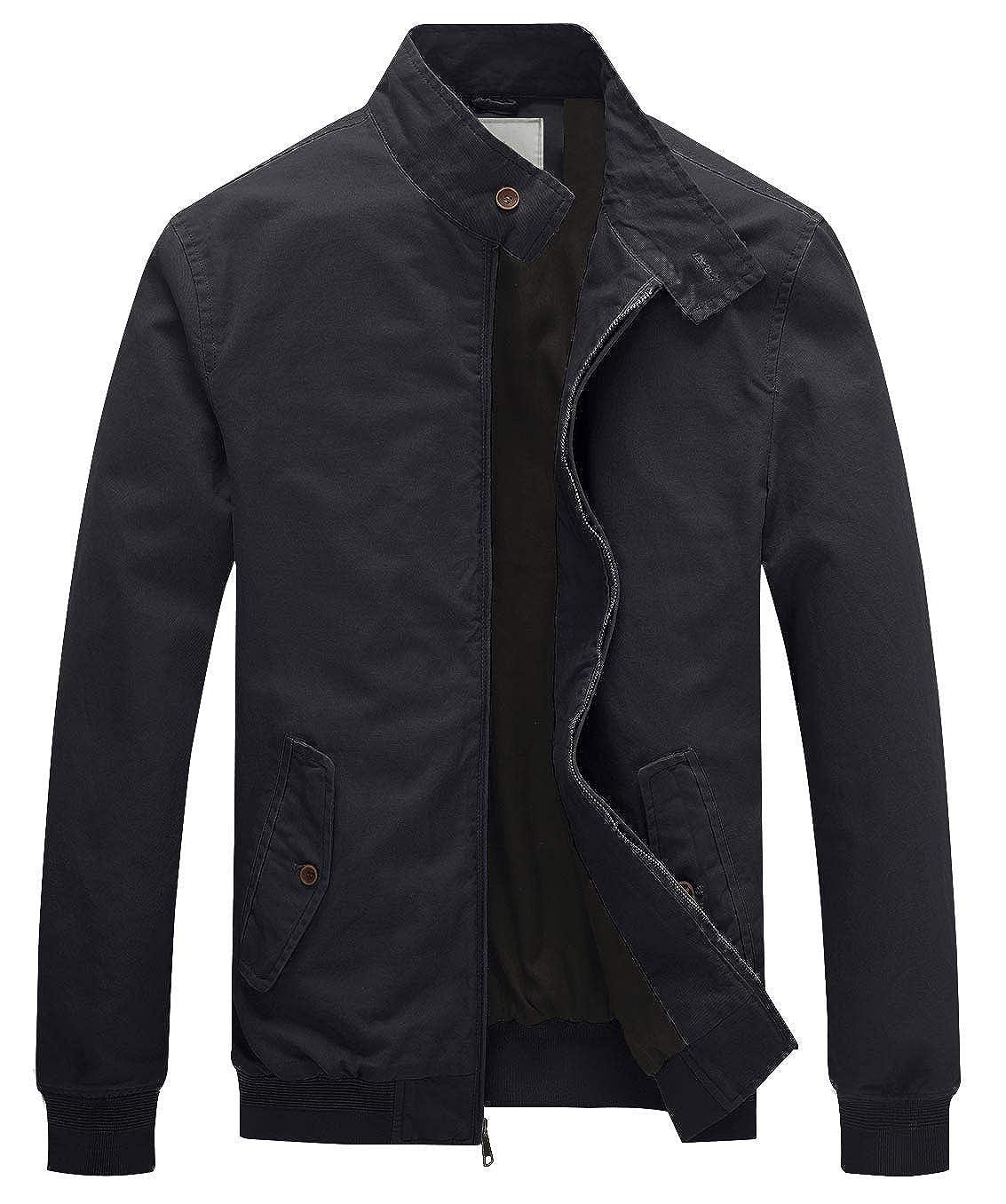 WenVen Homme Veste D/écontract/ée en Coton Coupe-Vent Blouson L/éger Col Montant Style Simple Classique pour Printemps Automne