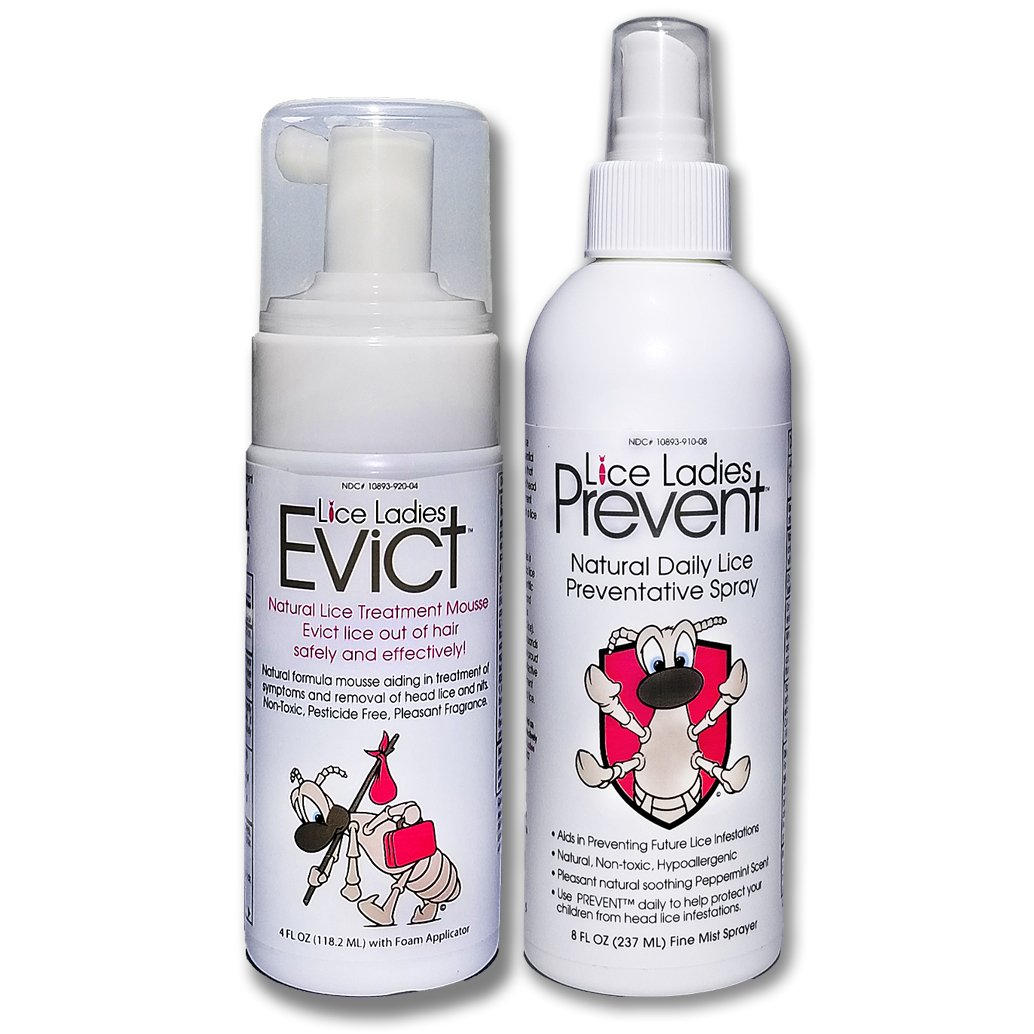 Lice Ladies EVICT and PREVENT 2-pack / All-Natural, Non-Toxic, Fast Acting Lice Treatment Mousse and preventative spray / homeopathic formula / 2 Pack of 1 – 4 oz EVICT / 1 – 8 oz PREVENT spray