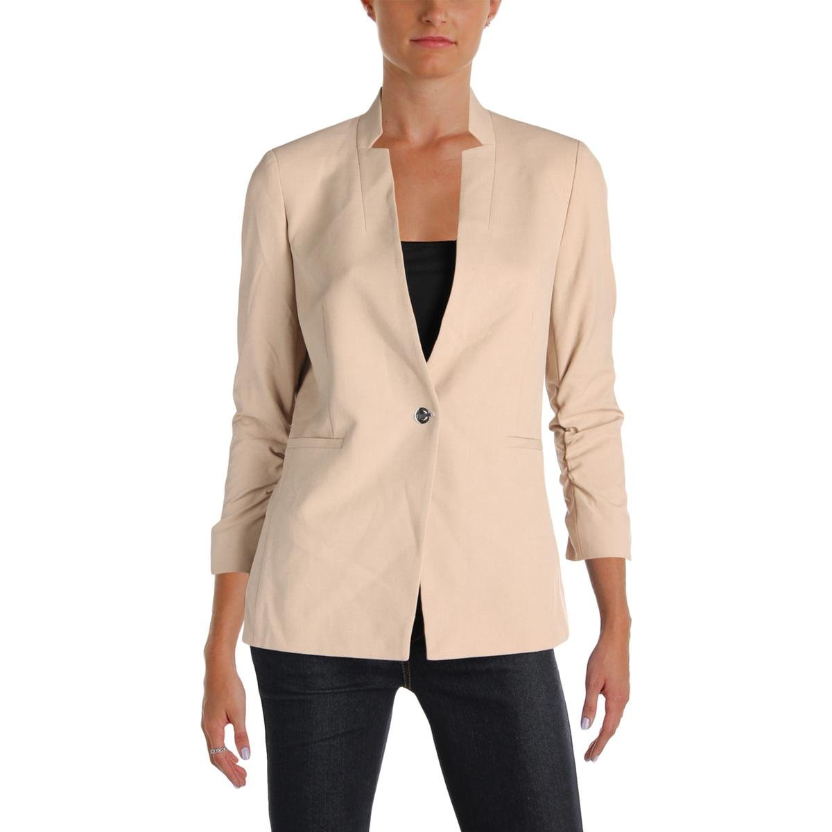 Tahari ASL Womens Petites Ruched 3/4 Sleeves One-Button Blazer Beige 0P