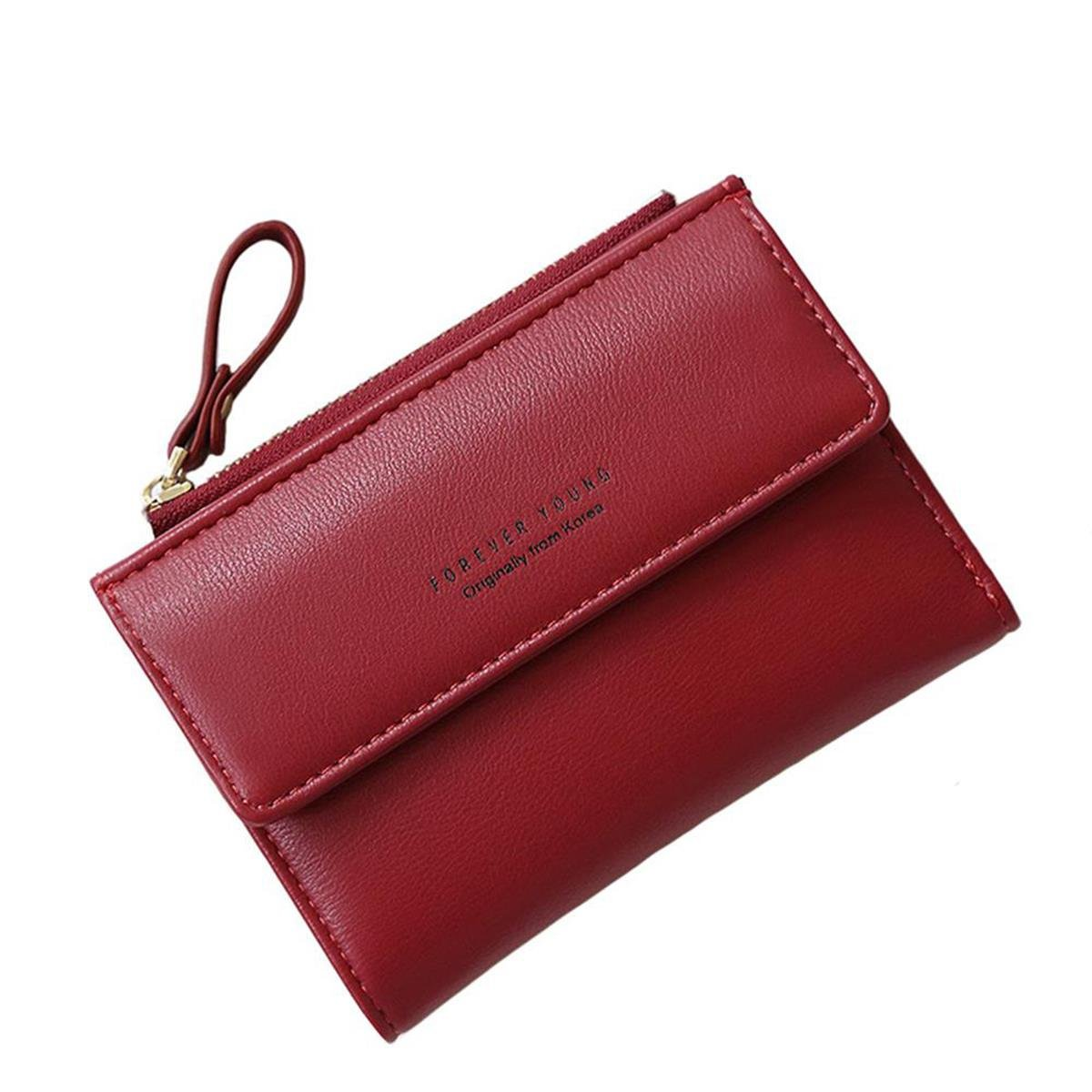 Women Small Wallet Lady Mini Purse Bifold Leather Short Wallet RFID Blocking with ID Window (B-Wine red)