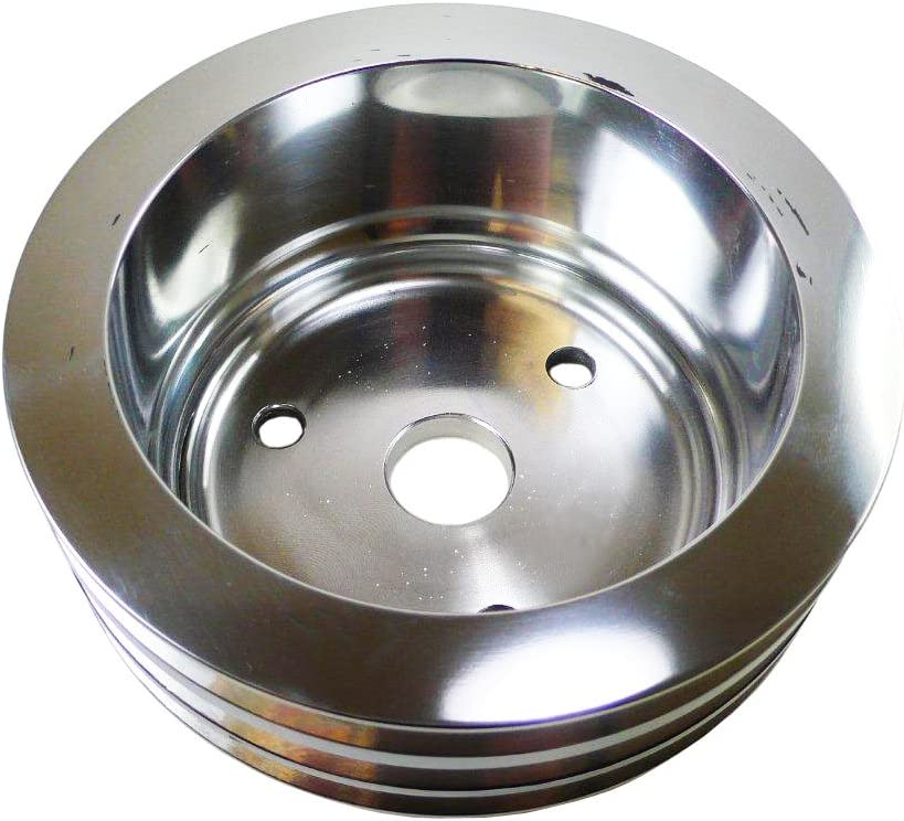LWP Compatible//Replacement for CHEVY SMALL BLOCK POLISHED ALUMINUM CRANK PULLEY 2 GROOVE