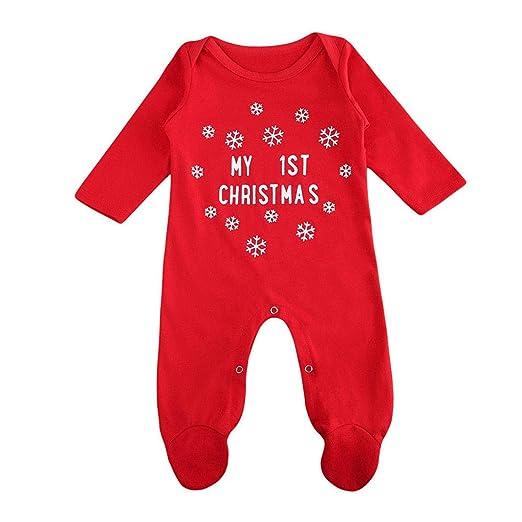 1d5320da3759aa OKPEACE Newborn Baby Boys Girls Long Sleeve Christmas Footie Outfit  Snowflake Letter Print Red Romper Bodysuit