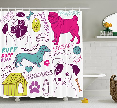 (Ambesonne Dog Lover Decor Collection, Love Dogs Doodle Footprint Dog Food Bowl House Ball Toy Play Time Art, Polyester Fabric Bathroom Shower Curtain, 84 Inches Extra Long, Fuchsia Teal purple)