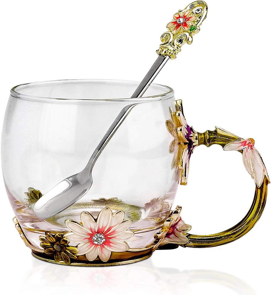 COAWG Taza Grande de Vidrio Esmaltado, Crisantemo Cristales de Cristal Claro Tazas de Té y Café con Mango de Flores Regalo para Abuelas Madres, Maestros,Amigo Cumpleaños Navidad San Valentín 330ml-1Pc