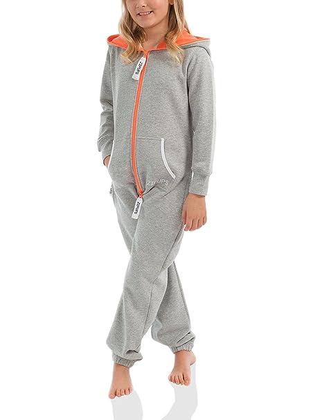 Zipups Mono-Pijama Neon Gris/Naranja 10-11 años (140/146
