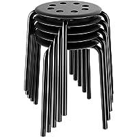 Yaheetech 5 Piezas de Taburetes Apilables Negros Sillas 31 x 31 x 44 cm Carga MAX