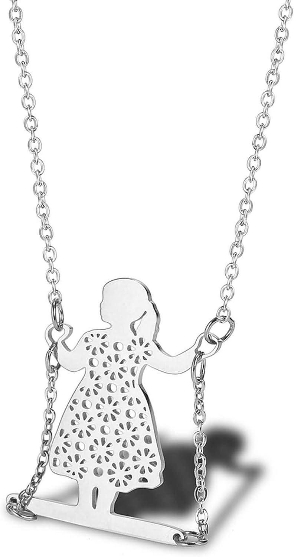 AnazoZ Collares Acero Inoxidable Mujer Collar de Mujer Niña Columpio Collar Colgante Mujer Plata/Oro/Oro Rosa