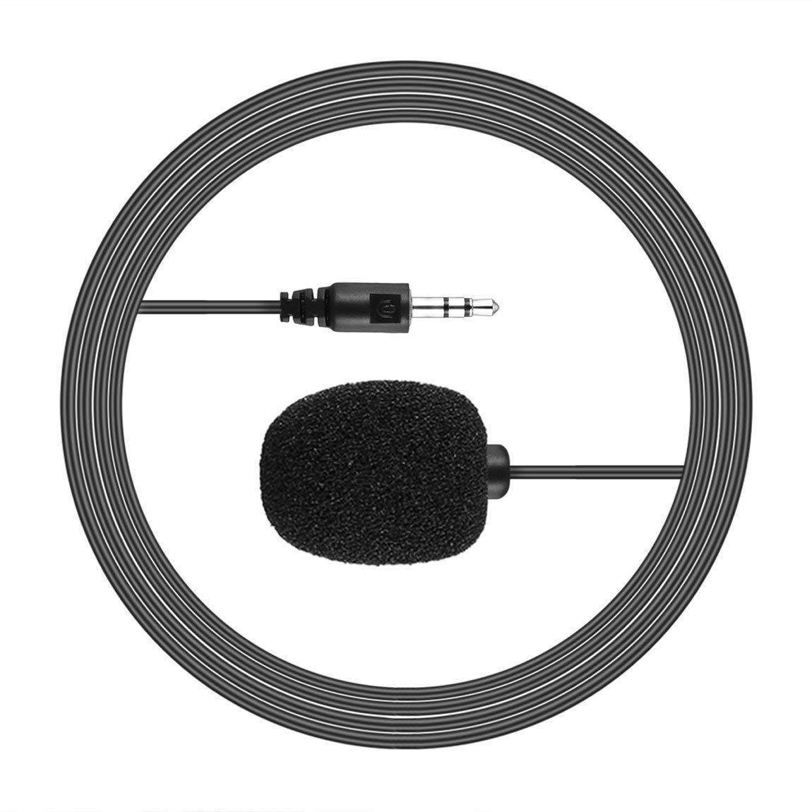 73JohnPol Port/átil Externo de 3,5 mm con Manos Libres Mini con Cable Clip de Solapa Micr/ófono lavalier para PC Laptop Lound Speaker Color: Negro