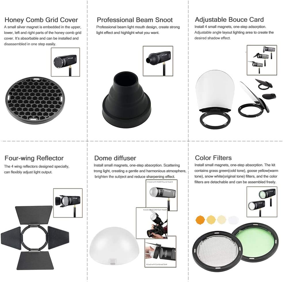GODOX AK-R1 Accessories Kit for Godox AD200 Pocket Flash Head AK-R1 Diffuser Ball,Color Filters,Honey Comb, Snoot, Barn Door