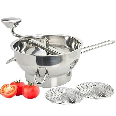 Aplanadora, Trituradora y Escurridora de Alimentos - Herramienta de cocina de acero inoxidable para salsas