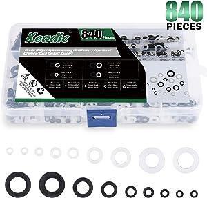 Keadic 840pcs Nylon Insulating Flat Washers Assortment Kit White/Black Gaskets Spacers, 9 Sizes - M2 M2.5 M3 M4 M5 M6 M8 M10 M12