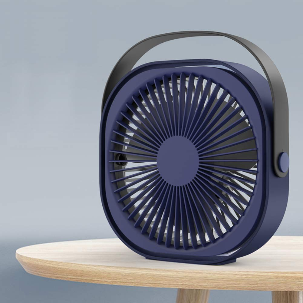 Desk Personal Fan, 7inch USB Portable Fan Rechargeable 1500mAh Three-Speed Wind for Home, Office and Car(Blue)