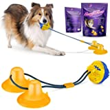 ComfiTime Dog Chew Toy - Interactive Suction Cup Dog Toy for Tug of War, Chewing; Durable Dog Ball and Rope Toy for…