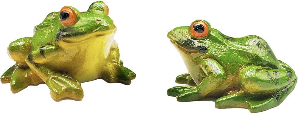 Miniature Frog Figurine 2 Pcs, Fish Tank Decoration Fairy Garden Frog Statue Landscape Decor Ornament