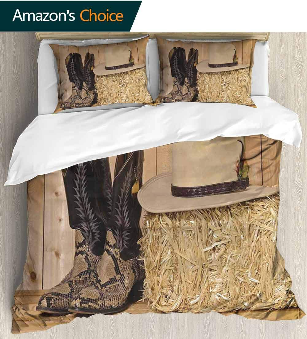 carmaxs-home Western Decor 3 Piece Quilt Coverlet Bedspread,Snake Skin Cowboy Boots Timber Planks in Barn with Hay Old West Austin Texas Bedding Set for Kids,Boys and Teens(68'' W x 85'' L) Cream Brown