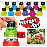 Bazaar 6Pcs Creative Soda Savers Toppers Reusable Bottle Caps Can Convert