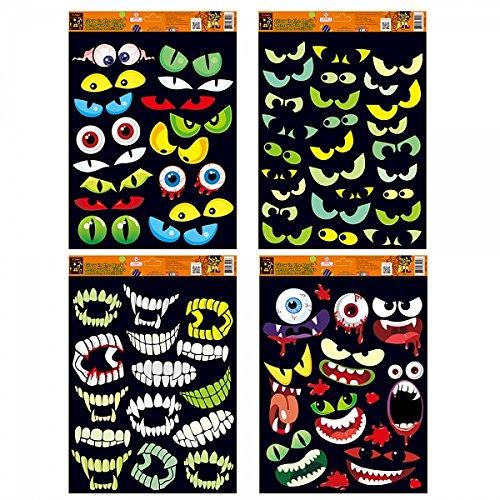 Scary Eyes (FLOMO Halloween Eyes and Teeth Glow in the Dark Window Cling Decorations (4 Packs) halloween window clings, halloween decorations, scary mirror, halloween)