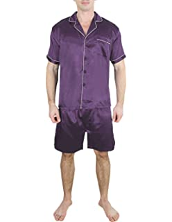 d43601726d Yanqinger Mens Summer Sleepwear Silk Pajamas Set Button-Down Short ...