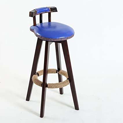 GZD Bar Stool, Retro Kitchen Stools With Wooden Legs High Stool Bar Stools  PU Leather