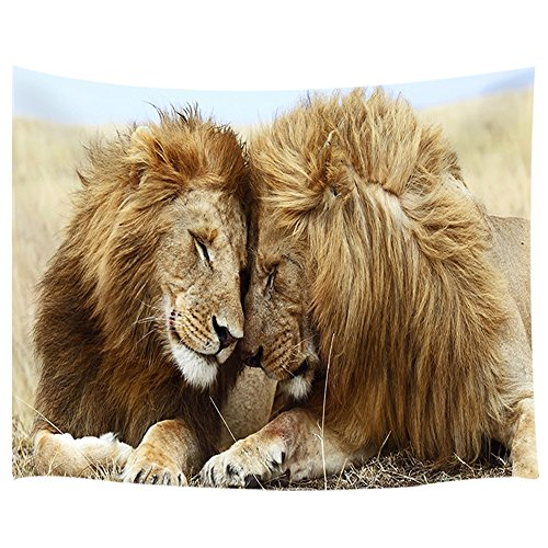 Animal Safari Wall Hangings - KOTOM Animal Decor Tapestry Lion Lover Animal Love Wall Art Hanging for Bedroom Living Room Dorm 71X60Inches Wall Blankets, Brown