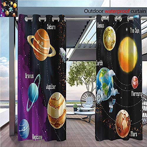 DESPKON Shading of Outdoor Curtains Solar System of Planets Milk Way Neptune Venus Mercury Sphere Horiztal Illus Suitable for Outdoor Room. W63 x L63 INCH