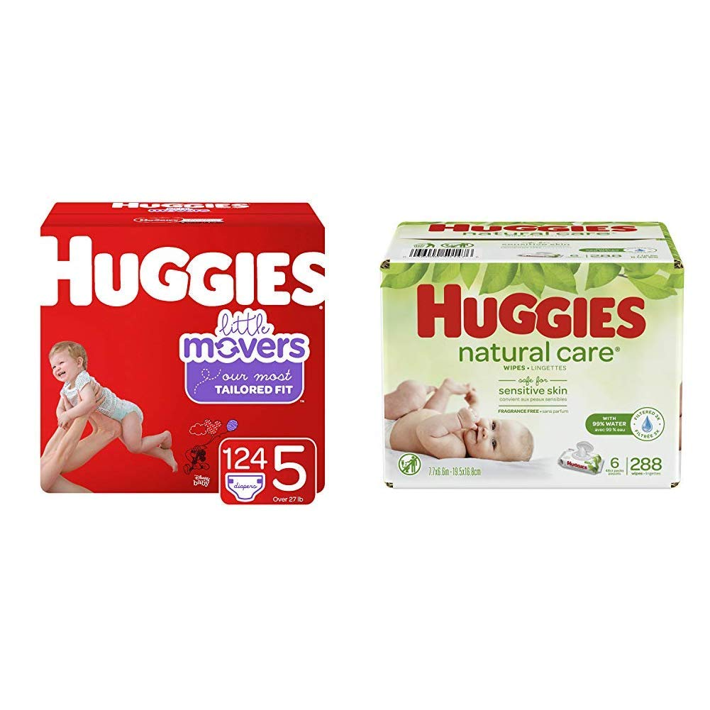 BUNDLE HUGGIES Little Movers Diapers, Size 5, 124 Count (Packaging May Vary) & HUGGIES Natural Care Unscented Baby Wipes, Sensitive, 6 Disposable Flip-top Packs (288 Total Wipes)