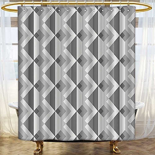 Mikihome Shower Curtains Waterproof Grey Triangles with Parallel Lines in Dark and Light Ash Shadow Fabric Bathroom Decor Set with Hooks W69 x H70 inch