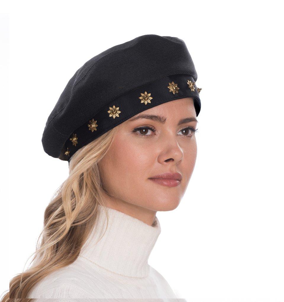 Eric Javits Luxury Fashion Designer Women's Headwear Hat - Saxon - Black/Gold