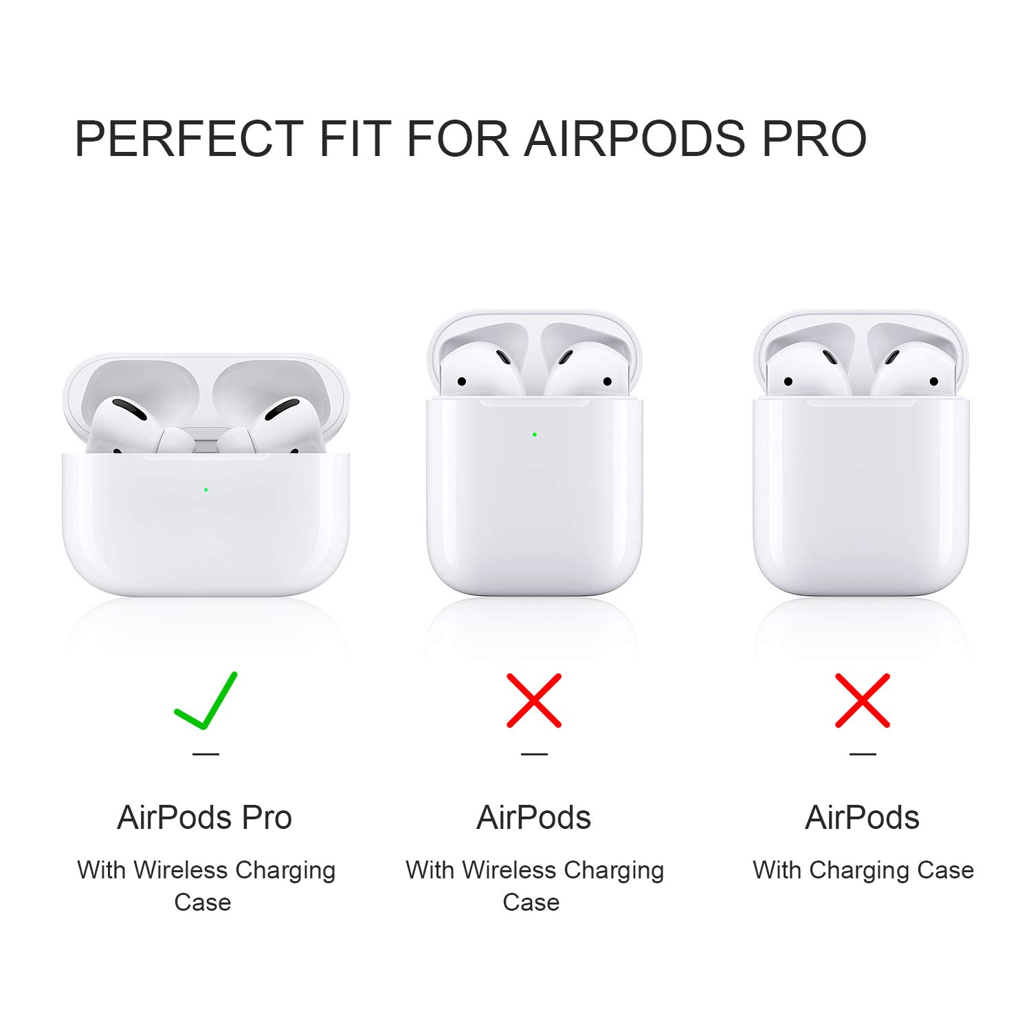 AirPods Pro Case Cover, 2.5MM Thick Silicone Shockproof Protective Cover with Visible Front LED Compatible with Wireless Charging AirPods Pro, Midnight Blue
