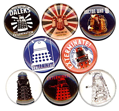 Dalek Costume Images (Dalek x 8 NEW pins buttons badges dr who EXTERMINATE stocking stuffer doctor)
