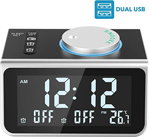 LATME-Alarm-Clock-Radio-for-Heavy-Sleepers W Dual Alarms,3.2 Digital Display and Dimmer,7 Alarm Sounds,Snooze,2 USB Ports,Bedside FM Radio Clocks with Temp for Bedrooms Kitchen Office Black-Grey