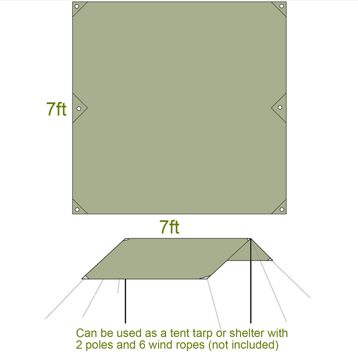 Vinqliq Outdoor Multipurpose Tent Tarp Groundsheet Footprint Camping Shelter Blanket Canopy Cover Thickened Oxford Fabric Lightweight and Waterproof 7x7 ft // 7x5 ft