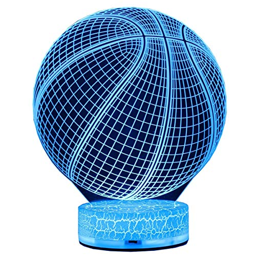 Basketball Lamp - AZALCO 3D Illusion LED Night Lamp Basketball with Built-in Battery