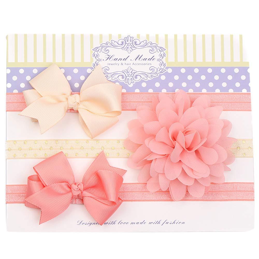 83e8ad21d424 Amazon.com : Newborn Baby Girls Hair Accessories 3Pcs Bowknot Flower Headband  Set Kids Beautiful Headwear Photography Props (D) : Beauty