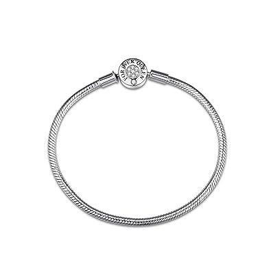 e17bd1f66 FOREVER QUEEN Charm Bracelet fit Pandora Charms, 925 Sterling Silver Basic  Snake Chain Bracelet for