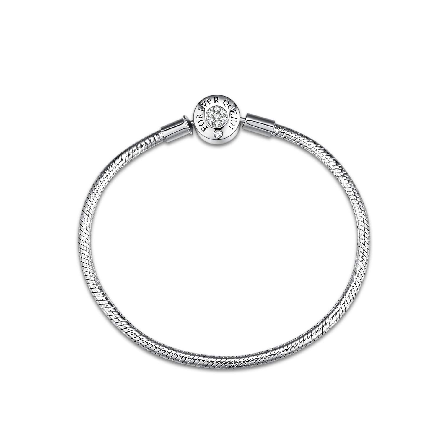 FOREVER QUEEN Charm Bracelet Fit Pandora Charms 925 Sterling Silver Basic Snake Chain Bracelet for Women Girls, Signature Bracelet with Sparkling Round Clasp Charm Clear CZ FQ00016
