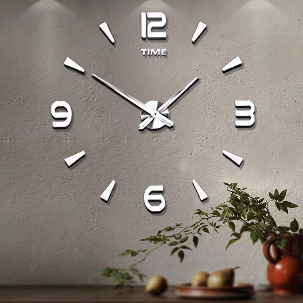 Mintime Frameless Large 3D DIY Wall Clock Mirror Stickers Home Office School Decoration(2-Year Warranty) (Sliver-015) product image