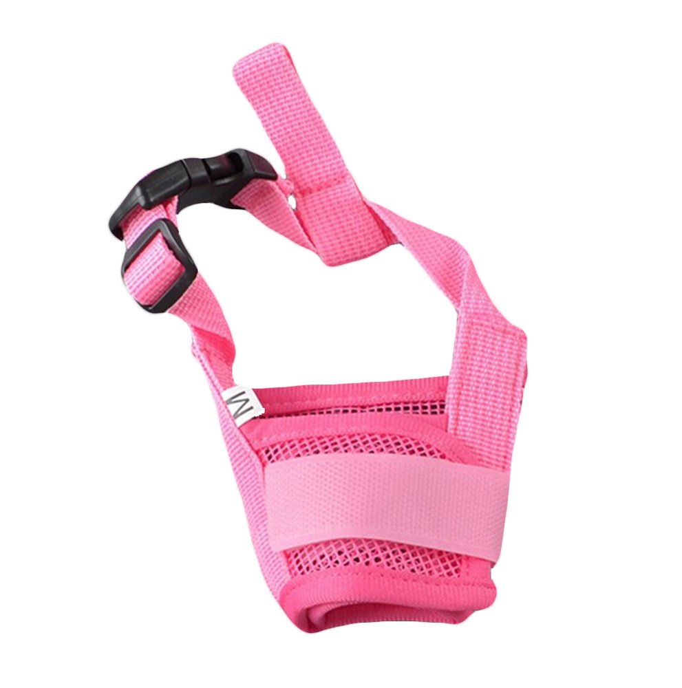 Adjustable Pet Dog Muzzle Breathable Mouth Cover for Safety Control Biting Barking (XL, Pink)