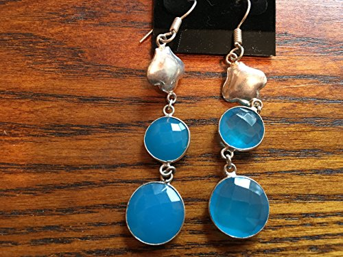 Chalcedony Floral Earrings - natural blue chalcedony gemstone and sterling silver flower dangle earrings