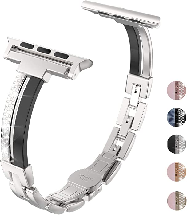 Wearlizer Silver Compatible with Apple Watch Band Series 6 5 4 40mm Series 3 38mm for iWatch SE Womens Metal Resin Strap Jewelry Rhinestone Wristband Sleek Bracelet, Links Buckle Series 2 1 Sport