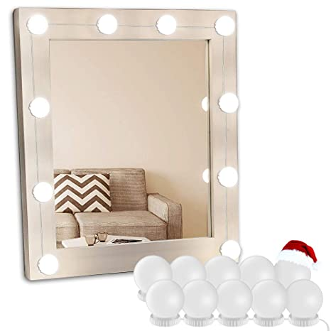 Makeup vanity lighting fixtures Brushed Nickel Vanity Light Mirror Hollywood Led Lights For Mirror With 10 Dimmable Light Bulbs Oroncho Vanity Amazoncom Amazoncom Vanity Light Mirror Hollywood Led Lights For Mirror With
