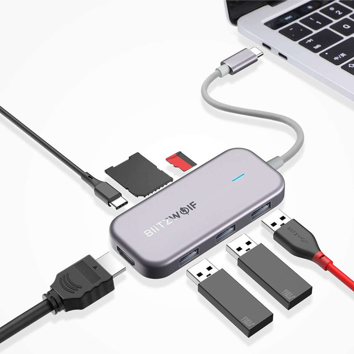 BlitzWolf USB C Hub, 7 Porte Multifunzione
