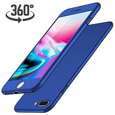 Funda iPhone 7 Plus + Protector de Pantalla de Vidrio Templado, Luckydeer Carcasa iPhone 7 Plus 360 Grados Ultra-Delgado Anti-Arañazos Carcasa Funda ...