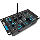 Wireless DJ Audio Mixer Machine - 3 Channel Bluetooth Compatible DJ Controller Sound Mixer System with Mic-Talkover, USB…