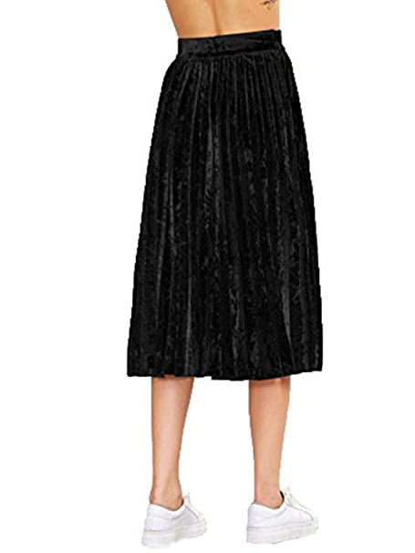 9c5fc33edb91fe Clothink High Waist Velvet Pleated Midi Skirt Black at Amazon Women's  Clothing store: