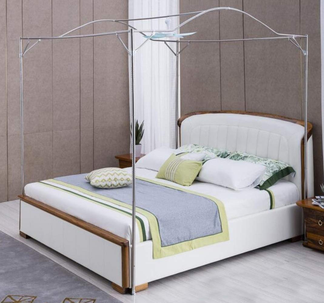 Mengersi Bedding Canopy Bed Frame Post,White (Twin, Silver-Arched)