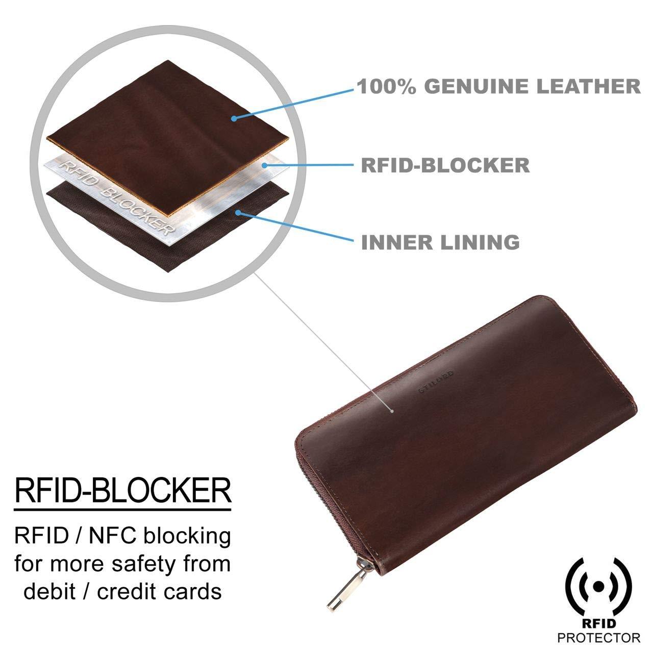 braun STILORD Emma Leder Portemonnaie Damen RFID Schutz Geldb/örse Damen RFID Blocker Querformat Brieftasche f/ür EC-Karten Kleingeld mit Geschenkbox Echtleder Farbe:Prato