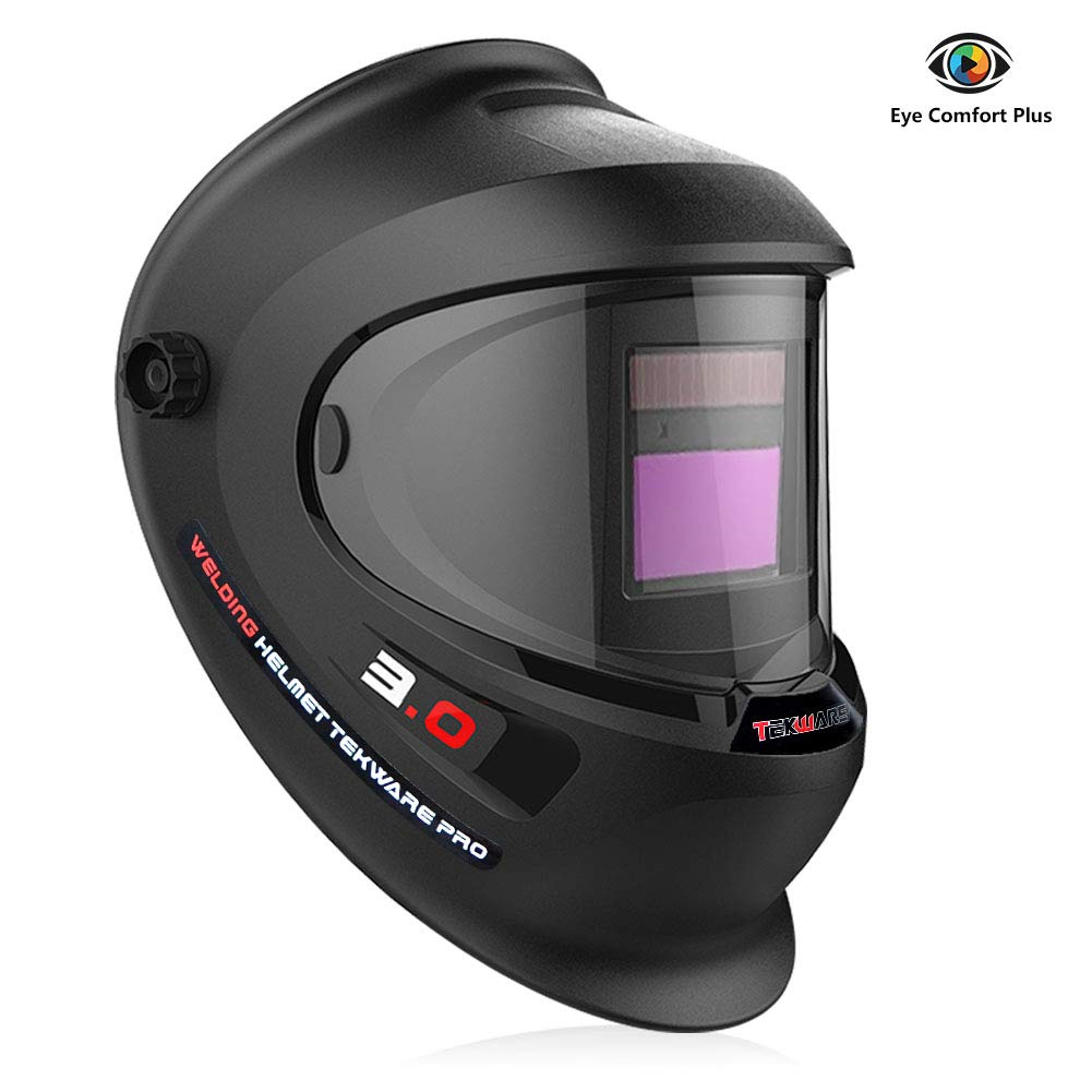 Tekware Welding Helmet 4C Lens Technology Solar Power Auto Darkening Hood True Color LCD Welder Mask Breathable Grinding Helmets with Adjustable Shade Range by TEKWARE (Image #1)